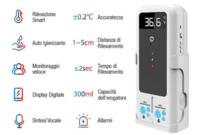 TERMO SCANNER CON DISPENSER GEL TOUCHLESS
